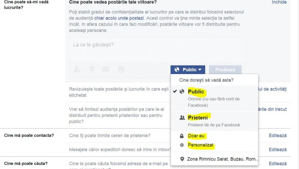facebook confidentialitate